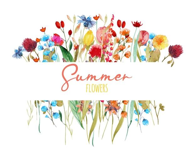 Cornice di fiordalisi ad acquerello, trifoglio di tarassaco e altri fiori di campo