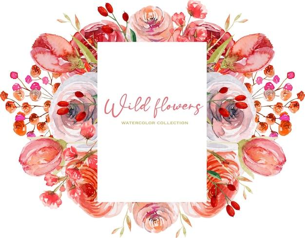 Cornice di rose rosse ad acquerello