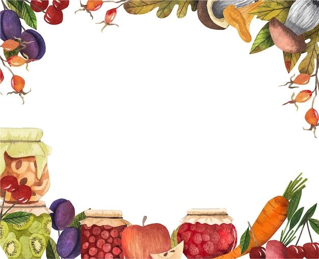 Cornice con vendemmia autunnale, vasetti di marmellata, funghi, frutta e verdura, bacche