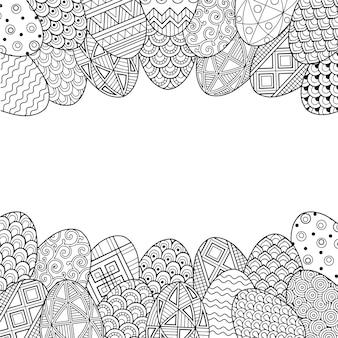 Cornice con uova di pasqua doodle in bianco e nero