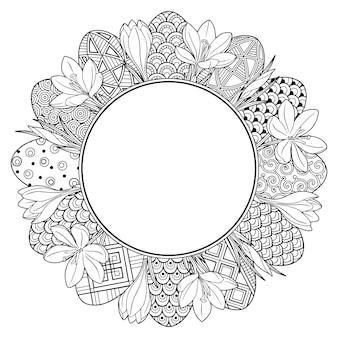 Cornice con fiori e uova di pasqua scarabocchi in bianco e nero