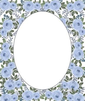 Cornice con rose blu acquerello