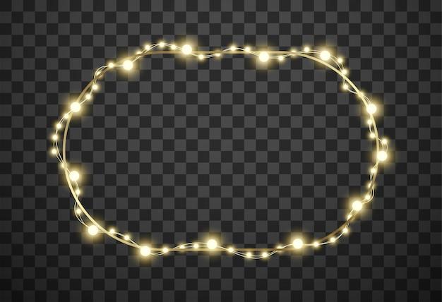Telaio con luci di natale su sfondo trasparente