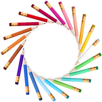 Cornice con matite colorate.