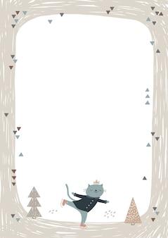 Cornice con simpatico gatto pattinaggio su ghiaccio.