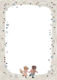 Cornice con simpatici amici volpi e orsi, pattinaggio sul ghiaccio.