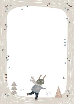 Telaio con pattinaggio su ghiaccio carino lepre.