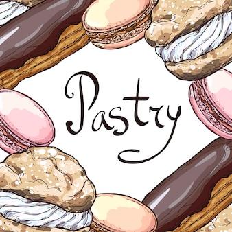Cornice con dessert. illustrazione disegnata a mano. isolato