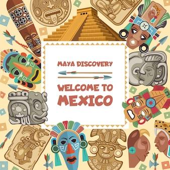 Cornice con illustrazioni di vari simboli tribali maya. antica cultura etnica azteca del messico, maschera nativa inca