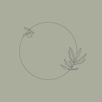Cornice con ramo d'ulivo con foglie e frutto in stile lineare minimal e trendy. emblema del logo floreale rotondo vettoriale per il confezionamento di olio, cosmetici, alimenti biologici, inviti di nozze e biglietti di auguri