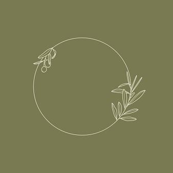 Cornice con ramo d'ulivo con foglie e frutto in stile lineare minimal e trendy. emblema del logo floreale rotondo vettoriale per modello per il confezionamento di olio, cosmetici, inviti di nozze e biglietti di auguri