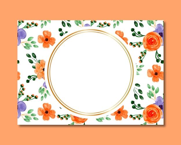 Cornice con motivo senza cuciture acquerello floreale viola arancione