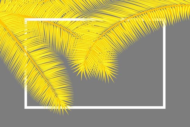 Cornice con foglie di palma sfondo tropicale floreale colori gialli e grigi copertina astratta.