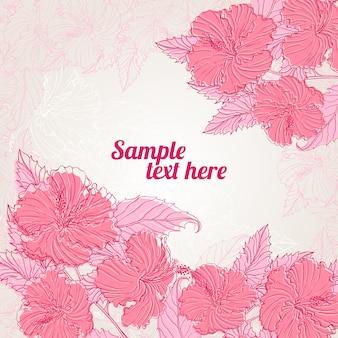Cornice con ibisco rosa con posto per il testo
