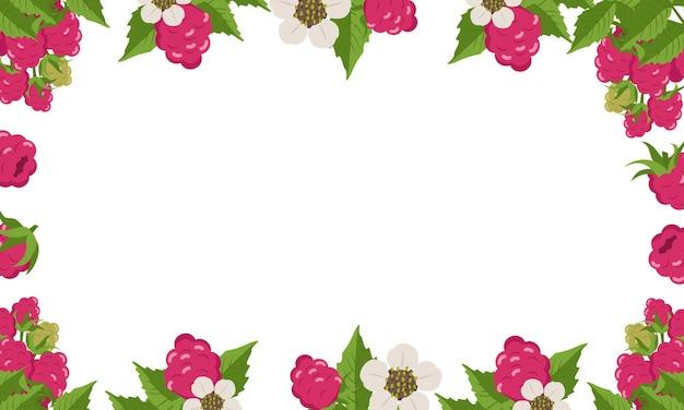 Cornice con foglie di lamponi e fiori su bianco.