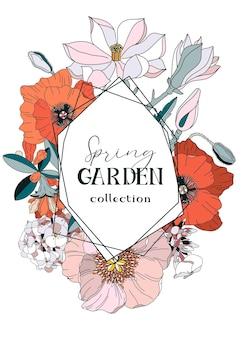 Cornice con fiori primaverili ed estivi papavero magnolia peonia cornice floreale per biglietto di auguri e invito può essere utilizzata per la progettazione di eventi o matrimoni illustrazione botanica di fiori da giardino