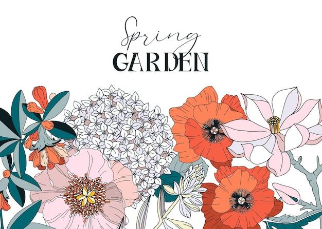 Cornice con fiori primaverili ed estivi