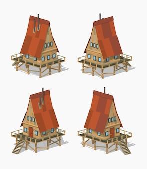 Casa isometrica lowpoly in legno a-frame 3d