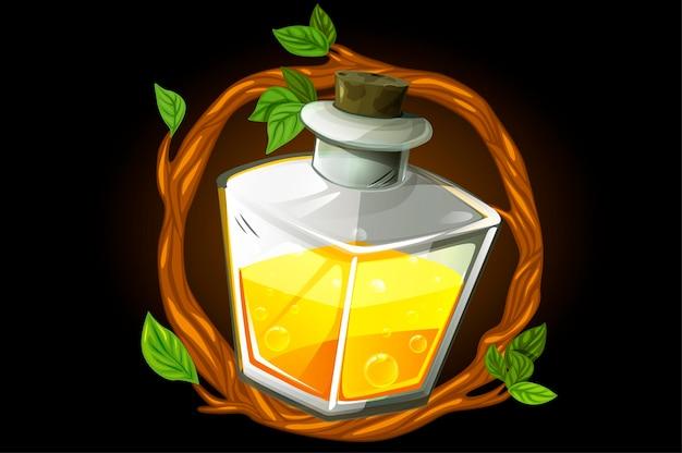 Ghirlanda di cornice e pozione magica gialla in una bottiglia quadrata