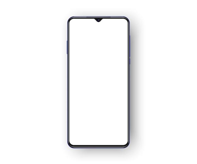 Telefono cellulare senza cornice isolato su priorità bassa bianca