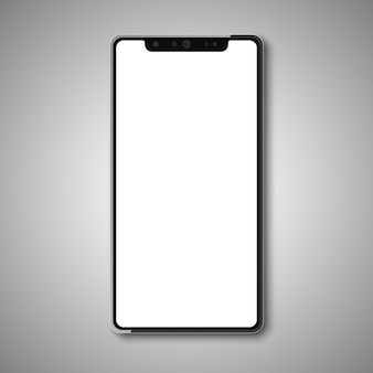 Smartphone senza cornice con display bianco.