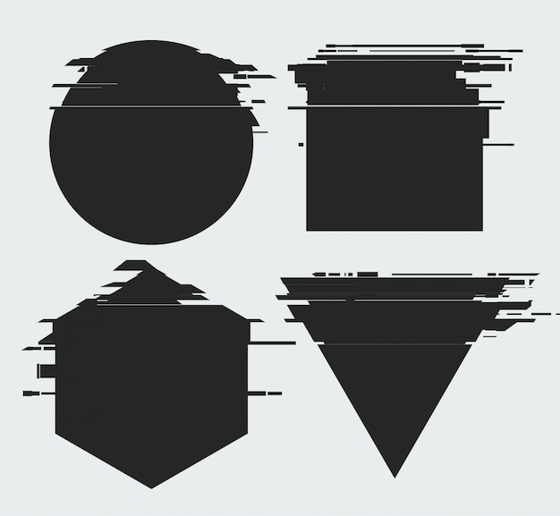 Cornici con effetto distorsione tv glitch e un posto per il testo, forme geometriche stella, triangolo, cerchio, quadrato, rombo, isolato su sfondo bianco, illustrazione