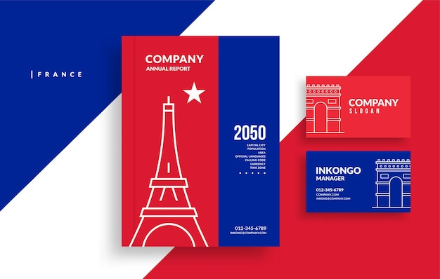 Copertina del libro del rapporto annuale della francia e design minimale del biglietto da visita