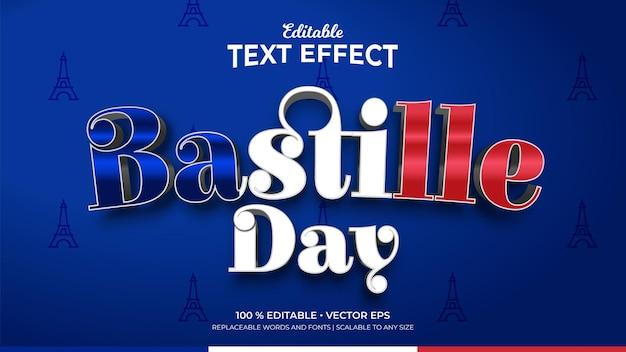 Effetti di testo modificabili in stile 3d di francia bastille day