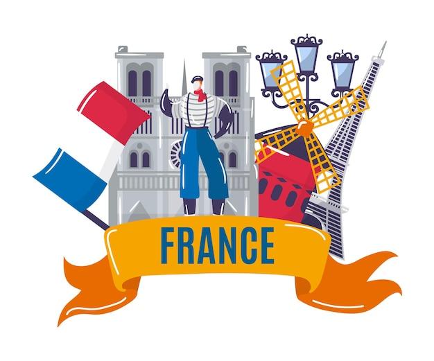 Francia cultura viaggio a parigi concetto isolato su bianco illustrazione vettoriale torre eiffel punto di riferimento e...