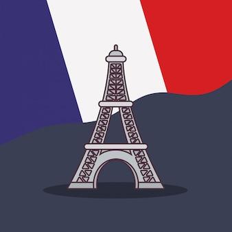 Cultura della francia con bandiera e torre eiffel