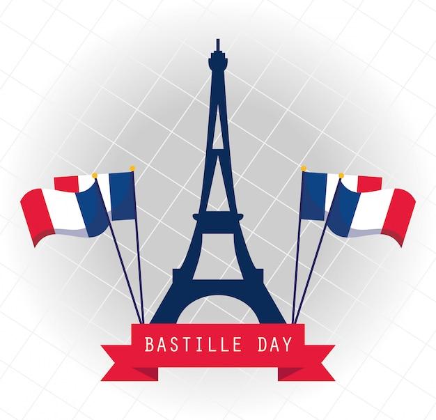 La torre eiffel della francia con le bandiere di felice giorno della bastiglia progetta