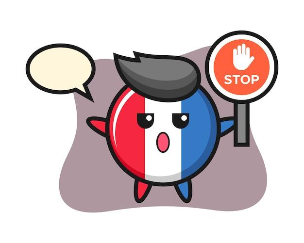 Illustrazione di carattere distintivo bandiera francia tenendo un segnale di stop