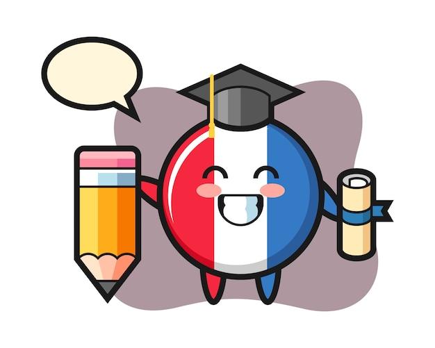 Il fumetto dell'illustrazione del distintivo della bandiera della francia è laurea con una matita gigante
