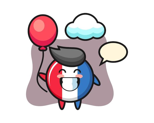 Illustrazione della mascotte del distintivo della bandiera della francia è in possesso di un palloncino