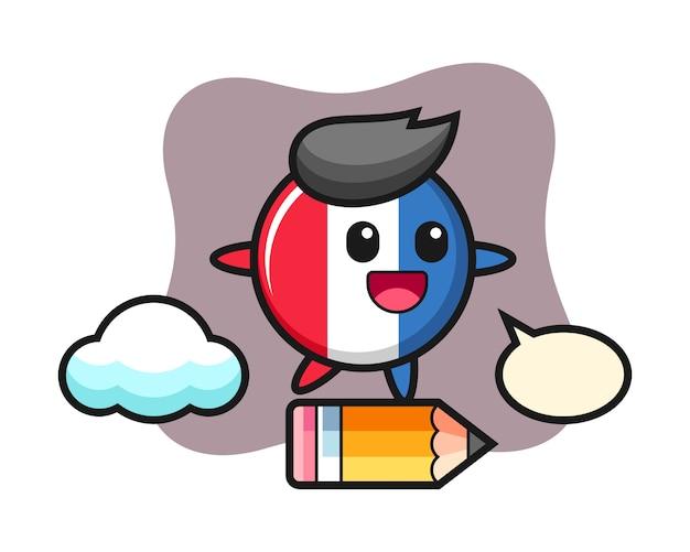 Illustrazione della mascotte del distintivo della bandiera della francia cavalcando una matita gigante