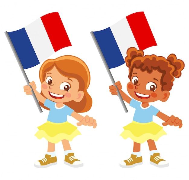 Bandiera della francia in mano insieme