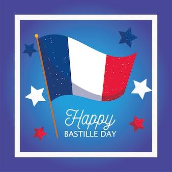 Bandiera della francia con le stelle all'interno della cornice del felice giorno della bastiglia