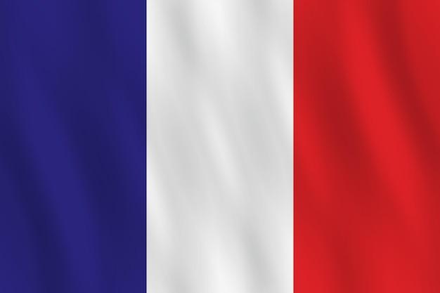 Bandiera della francia con effetto ondeggiante, proporzione ufficiale.