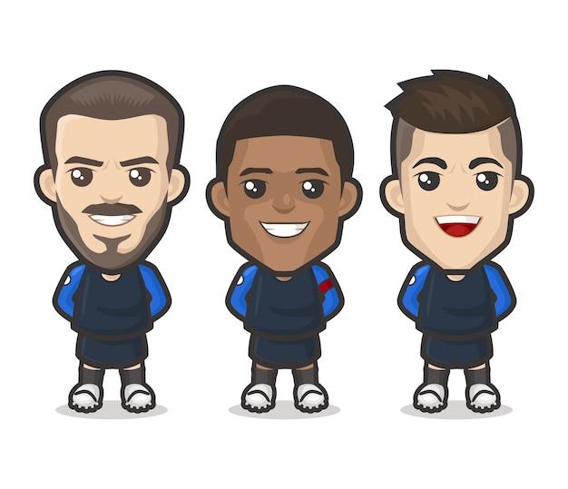 Design della squadra di calciatori della francia Vettore Premium