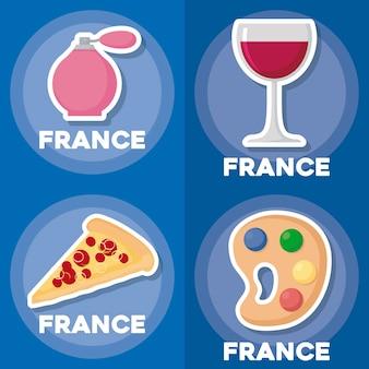 Set di icone di francia