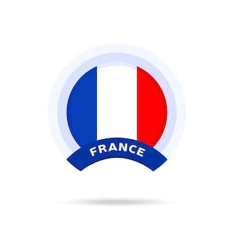Bandiera nazionale della francia icona del pulsante cerchio. bandiera semplice, colori ufficiali e proporzione corretta. illustrazione vettoriale piatto.