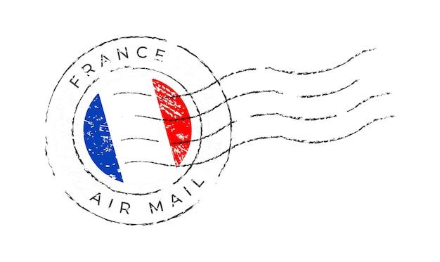 Francobollo francese. bandiera nazionale francobollo isolato su sfondo bianco illustrazione vettoriale. timbro con motivo ufficiale della bandiera del paese e nome del paese