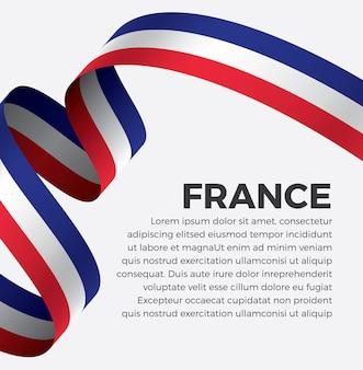 Illustrazione di vettore della bandiera del nastro della francia su una priorità bassa bianca vettore premium
