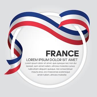 Bandiera del nastro della francia, illustrazione vettoriale su sfondo bianco