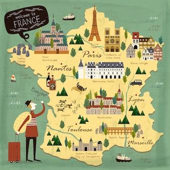Mappa di illustrazione di concetto di viaggio francia con attrazioni
