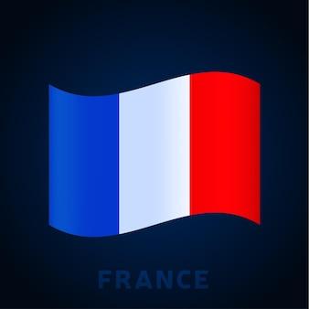 Bandiera di vettore dell'onda della francia. sventolando i colori ufficiali nazionali e la proporzione della bandiera. illustrazione vettoriale.