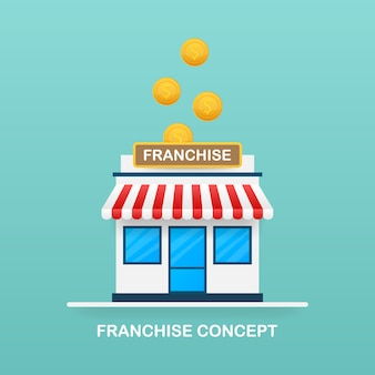Concetto di business in franchising, sistema di marketing in franchising.