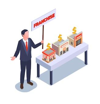 Illustrazione isometrica di franchising e affari