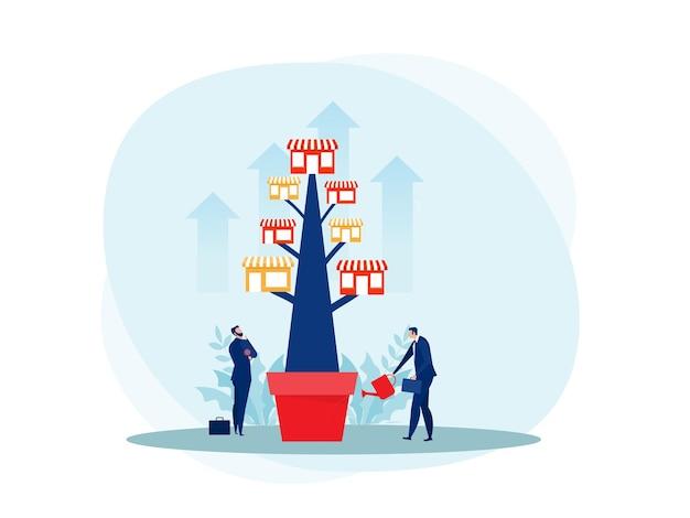 Attività di negozio in franchising con albero di crescita. illustrazione piana promozionale delle pmi di affari immobiliari.