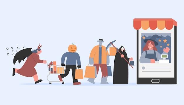 Frankenstein con una borsa della spesa e angeli della morte e un mostro di zucca che cammina verso la cassa in smartphone. illustrazione sullo shopping online nella tradizione di halloween del gruppo del diavolo.